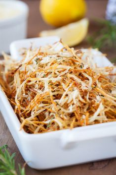 A cross between hash browns and french fries, these baked parmesan rosemary shoestring fries are so crispy and completely addicting. Baked Vegetables, Fruits And Veggies, Vegetable Side Dishes, Vegetable Recipes, Vegetable Bake, Potato Dishes, Potato Recipes, Easy Baking Recipes, Parmesan