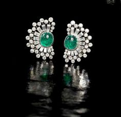A pair of emerald and diamond earclips, circa Photo: Bonhams. Each crescent-shaped earclip set with a central cabochon emerald. Emerald Earrings, Emerald Jewelry, Women's Earrings, Diamond Jewelry, Gold Jewelry, Jewelery, Women Jewelry, Art Deco Jewelry, High Jewelry