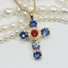 Blue Red Cross Necklace Sapphire Cross Pendant 4th of by TIMATIBO