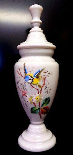 Antique White French opaline Glass Vase