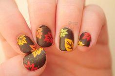 Thanksgiving Nail Design - Fall Leaves