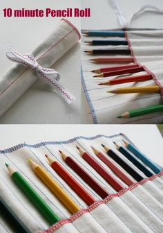 DIY: 10 minute pencil roll (10 minutes if you are skilled) I made one this morning and it really was simple and cute and has a few errors but is totally functional :)