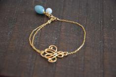 delicate boho bracelet, gold filled, jade.