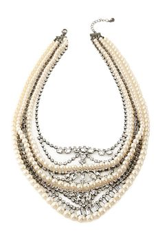 Faux Pearl & Rhinestone Necklace | FOREVER 21 - 1052289763