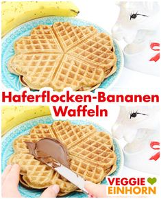 Vegane Haferflocken-Bananen-Waffeln Healthy Oatmeal Banana Waffles: Fast waffles for breakfast bake from just three ingredients. Simple vegan waffle recipe in german. Vegan food and delicious breakfast Breakfast Bars Healthy, Breakfast Bake, Vegan Breakfast Recipes, Vegan Recipes, Banana Breakfast, Vegan Waffle Recipe Easy, Waffle Recipes, Baby Food Recipes, Banana Waffles Vegan