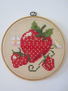 strawberry kitchen decor, cross stitch hoop wall hanging. $12.00, via Etsy.