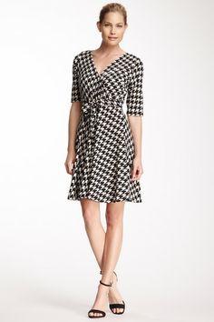 Sandra Darren Surplice Neck Houndstooth Dress by Non Specific on @HauteLook