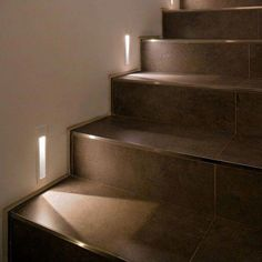 Stairway lighting Ideas with spectacular and moderniInteriors, Nautical stairway, Sky Loft Stair Lights, Outdoors Stair Lights, Contemporary Stair Lighting. Staircase Lighting Ideas, Stairway Lighting, Staircase Design, Strip Lighting, Wood Staircase, Attic Stairs, Lights For Stairs, Staircase Landing, Cabin Lighting