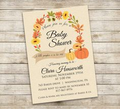 Autumn Baby Shower Invitation   A Little Pumpkin Is On His Way! Printable  Invitation