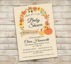 little pumpkin baby shower invitations - rustic autumn shower, Baby shower invitations