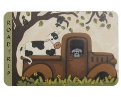 """"""" ROAD TRIP """" Whimsical Cow in Truck Kitchen / Office Magnet / Annie Lane Designs"""