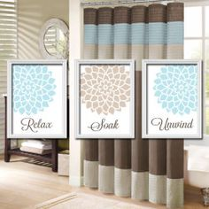 Bathroom Wall Art Artwork Relax Soak Unwind Blue Aqua Beige Dahlia Flower  Burst Set Of 3