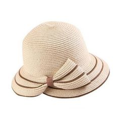 Fashion striped bow straw hat for sun protection womens UV summer beach hats