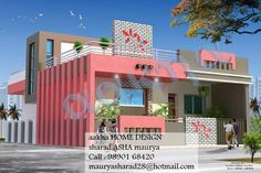 Building Elevation, House Elevation, Modern Houses, Modern House Design, Paint Colors For Home, House Colors, Staircase Glass Design, Compound Wall Design, Residential Building Design