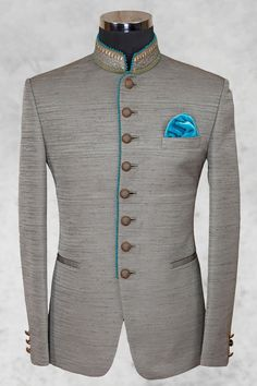 Grey admirable raw silk suit with bandhgala - Jodhpuri Suits - Men's Suits - Men's Wear Wedding Dresses Men Indian, Wedding Dress Men, Wedding Suits, Indian Men Fashion, Mens Fashion Suits, Mens Suits, Ropa Semi Formal, Prince Suit, Mens Traditional Wear