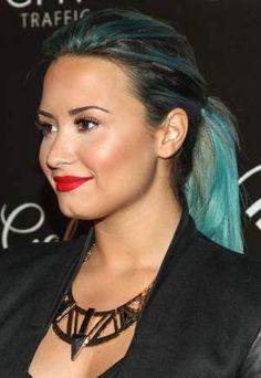 Demi Lovato blue hair  October 2013