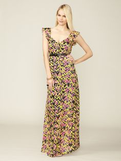 Anza Belted Silk Maxi Dress by Miha on Gilt