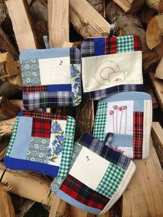 Potholders made from clothes and linens from Jackie's family members