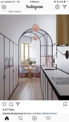 Classic Home Decor breakfast nook ideas small//pink pendant light.Classic Home Decor breakfast nook ideas small//pink pendant light Layout Design, Design De Configuration, Küchen Design, Design Homes, Art Deco Design, Design Ideas, Cocina Art Deco, Art Deco Kitchen, Design Kitchen