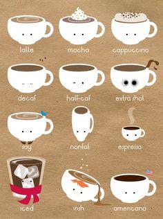Poster de diferentes tipos de café. decopez: weekend