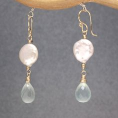 Coin pearl with sea blue chalcedony earrings Cosmopolitan 27