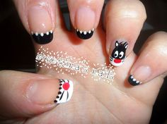 Silvester the cat nails - Nail Art Gallery Cat Nail Art, Animal Nail Art, Cat Nails, New Year's Nails, Hair And Nails, Little Girl Nails, Girls Nails, Nail Envy, French Tip Nails