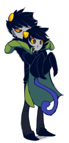 demented-sheep: it's always a little headcanon of mine that karkat picks nepeta up and she just goes into automatic cat mode and curls in a ball idk this ship will be the death of me