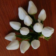 1X Latex Real Touch White Tulip Tulips Posy Wedding Flower Bouquet Fake Flowers | eBay
