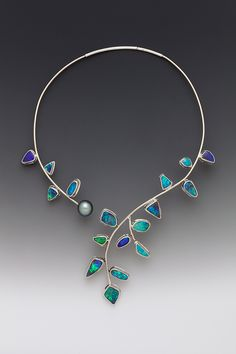 "Necklace | Cynthia Downs.  ""Open Vine"".  Australian boulder opals and white gold."