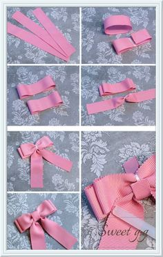 Baby Girl Headband, Faux Suede Bow Clips or Headband, Baby Bow Clip, Girl Bows Ribbon Hair Bows, Diy Hair Bows, Diy Bow, Diy Ribbon, Bow Hair Clips, Bow Clip, Pink And Blue Ribbon, Hair Bow Tutorial, Gift Bows