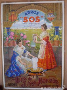 ALGEMESI (VALENCIA).- ARROZ 'SOS'.- LITOGRAFIA HACIA 1930.- 100x70 CM. APROX. - Foto 1