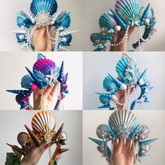 Shell Centerpieces, Hanging Centerpiece, Shell Crowns, Mermaid Crafts, Mermaid Crown, Rose Quartz Crystal, The Little Mermaid, Diy And Crafts, Creations