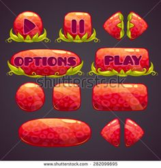 Cartoon red buttons with nature elements, vector illustration