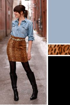 Jessica Quirk, What I Wore, WhatIWore, fashion tumblr, ootd, outfit of the day, personal style blog, leopard print outfit idea, chambray, black boots and tights, vintage belt, street photography