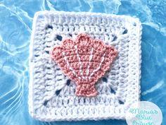 Seashell Granny Square Crochet Pattern - Ocean Afghan Series
