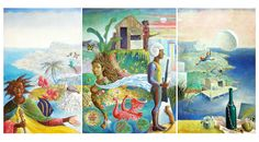 In the Beautiful Caribbean, (1974) | by Colin Garland || The painting implies a multiplicity of contexts and themes including religion, colonisation, independence, imperialism, and struggling economies all within an exotic and colour-saturated environment.