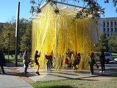 Stringy rubber playscape at the Blanton Museum, Houston, Texas