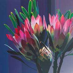 Protea (4) - Paul Blomkamp Protea Art, Protea Flower, Watercolor Flowers, Watercolor Paintings, Pink Painting, All Flowers, Printable Art, Printables, Flower Wallpaper