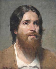 Artist: Burton Silverman, b. 1928, oil on linen, 2012 {contemporary figurative artist male head bearded man painting} burtonsilverman.com