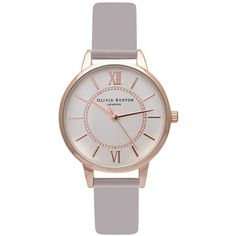Olivia Burton Wonderland Watch - Grey Lilac, Rose Gold & Silver (€82) ❤ liked on Polyvore featuring jewelry, watches, relogio, gray watches, rose gold wrist watch, pink gold jewelry, pink gold watches and silver jewelry