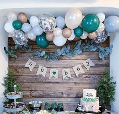 A woodsy winter woodland party isn't complete without fresh pine trees, pine cones, and bubbly balloons! Complete any woodland party with a balloon garland kit! winter woodland party ideas and decor baby shower DIY Balloon Garland Kit Baby Shower Decorations For Boys, Boy Baby Shower Themes, Baby Shower Gender Reveal, Baby Shower Games, Baby Shower For Boys, Baby Shower Balloon Ideas, Boy Baby Showers, Babyshower Themes For Boys, Baby Shower Winter