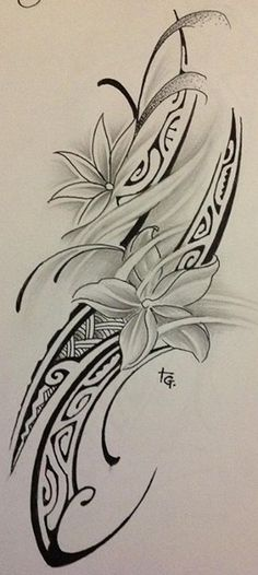Grey Flowers And Polynesian Tattoos Design
