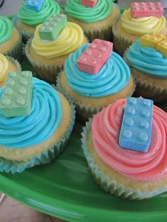 CUTE! lego block cupcakes you can get the lego lollies from Trade Me! EASY