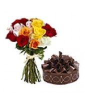 12 Mixed Roses Bunch with Kg Chocolate cake Buy Cake Online, Online Cake Delivery, Cake Shop, Kolkata, Yummy Cakes, Chocolate Cake, Floral Arrangements, Christmas Gifts, Roses