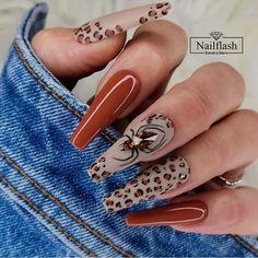 May Nails, Leopard Print Nails, Cute Acrylic Nails, Stylish Nails, Halloween Nails, Long Nails, Nails Inspiration, Pretty Nails, Nail Designs
