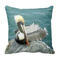 Sitting Pelican Throw Pillows