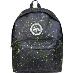 HYPE. Speckle Backpack (Black/Neon Green) ($39) ❤ liked on Polyvore featuring bags, backpacks, day pack backpack, neon green bag, knapsack bag, rucksack bag and neon green backpack