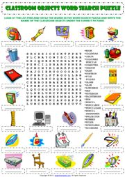 Classroom Objects Word Search Puzzle ESL Worksheet