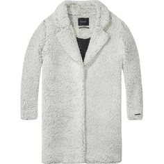Maison Scotch Teddy bear cocoon fit coat ❤ liked on Polyvore featuring outerwear, coats, jackets, grey wool coat, wool lined coat, wool coat, collar coat and oversized wool coat