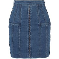 Balmain Lace-up stretch-denim mini skirt (2,105 CAD) ❤ liked on Polyvore featuring skirts, mini skirts, bottoms, balmain, embellished mini skirt, balmain skirt, blue skirt and embellished skirt